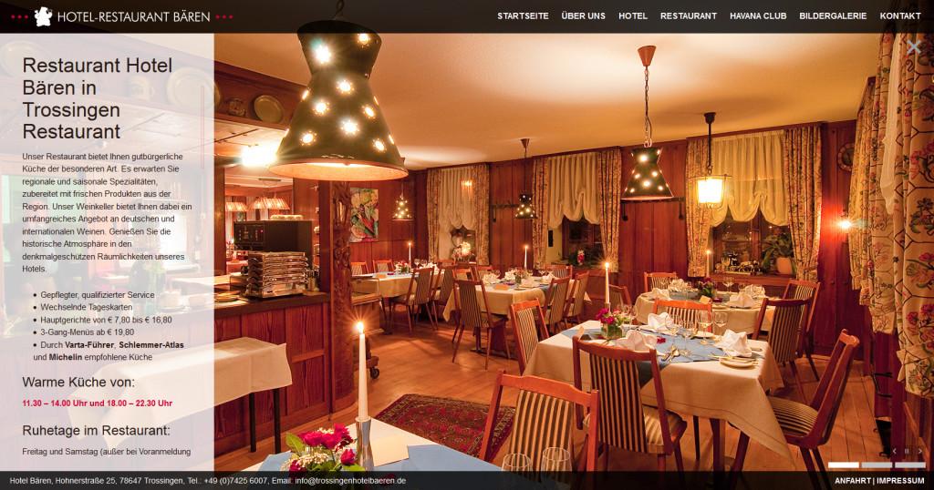 Neue Webseite mit Suchmaschinenoptimierung und Responsive Design für das Hotel-Restaurant Bären in Trossingen
