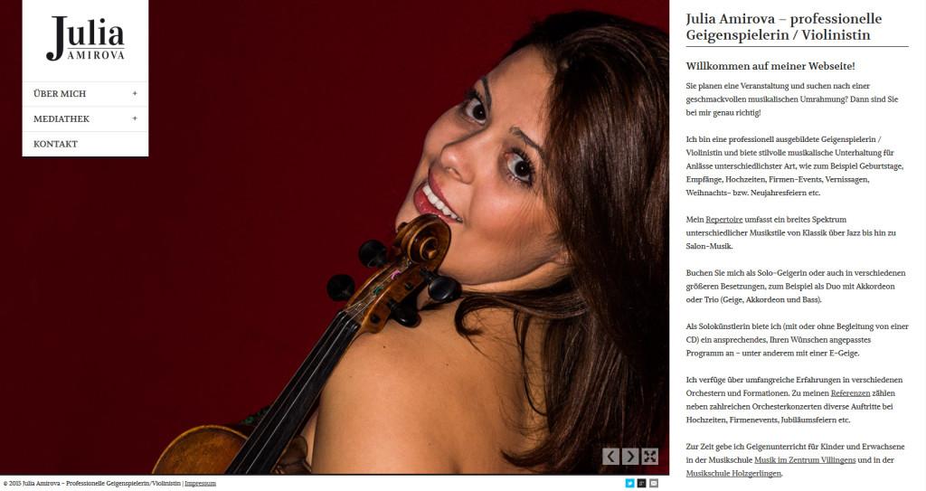 Webseite für die Geigenspielerin / Violinistin Julia Amirova | Webdesign | Responsive Design | Grafikdesign | Suchmaschinenoptimierung | Corporate Design